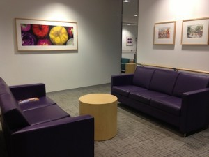 Beautiful and comfortable waiting room at Cooper Hospital