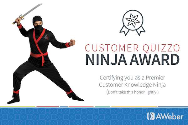 AWeber Customer Quizzo Ninja Award