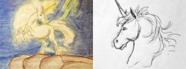 Two unicorn drawings